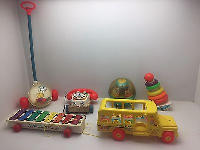 Lot of 6 Fisher Price Toys Parts or Repair (K6)