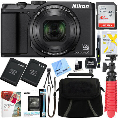 Nikon COOLPIX A900 20MP Digital Camera WiFi 35x Optical Zoom (Black) + 32GB Kit