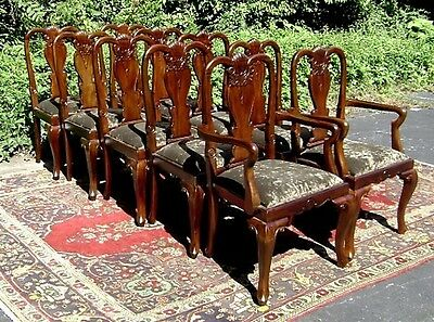 Stunning set of 12 carved solid mahogany Queen Anne style chairs