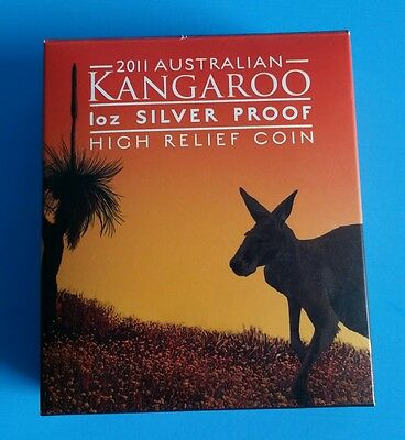 2011 Australia Kangaroo High Relief  $1 Silver Proof Coin 1 oz SILVER