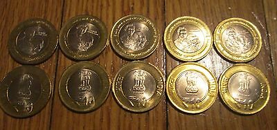 10 Coin India Gandhi's Return to South Africa BI Metallic 10 Rupees coin