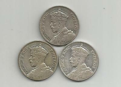 Ncoffin New Zealand King George V 1934, 1935 & 1936  Florin .500 Silver Coins