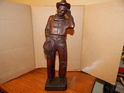 """Vintage Will Rogers hand carved wooden statue 14 1/4"""" cowboy outfit-w/rope-"""