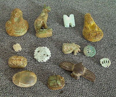 Lot of 13 Ancient Egyptian Relics Scarab Seals Beads Bastet Statue Old Artifacts