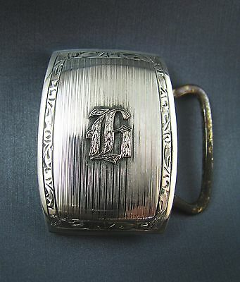 Vintage Marsh Sterling Silver Art Deco Mans Belt Buckle Ca. 1930