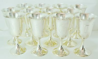 Excellent Set of 12 Fisher Sterling Silver Water Wine Goblets Cups ea 8oz./250ml