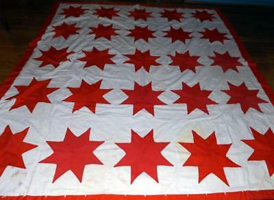 Antique Vtg 74x83 Red & White Applique Quilt - Stacking or Craft Projects c1930s