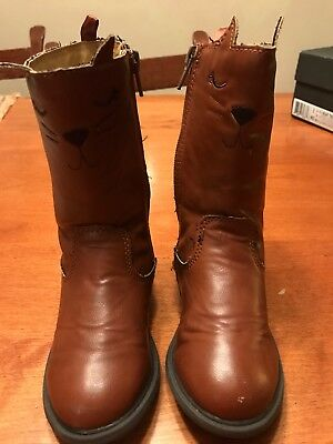 Toddler Girls CARTER'S Brown Riding Boots w/ Kitty Face SZ 9