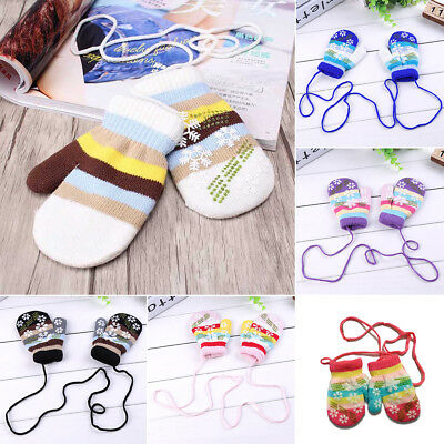1Pair Baby Kids Boys Girls Winter Warm Gloves Multi-color Knitted Mittens Gloves