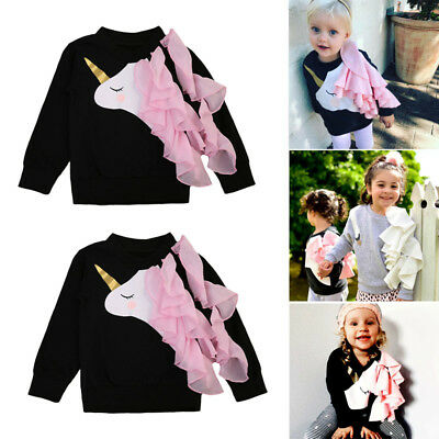 Newborn Baby Girls Unicorn Lace Ruffle Tops Sweatshirts Long Sleeve Clothes 0-4Y