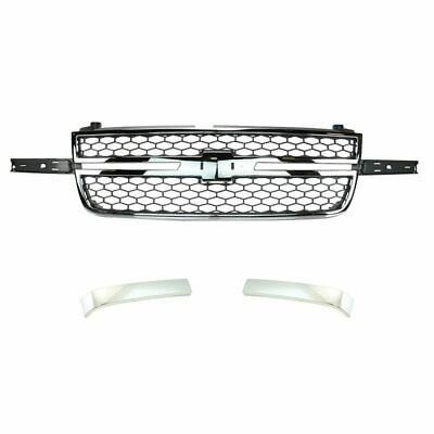 Front Chrome & Gray Grille with Molding Trim for Chevy Silverado Truck Pickup
