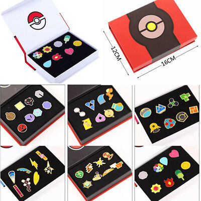Pokemon Kanto League Kalos Gym Badges Pin Brooch Cosplay Collector Set Gift Box