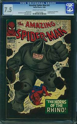 Amazing Spider-Man #  41  1st appearance of the Rhino !  CGC 7.5  scarce book!