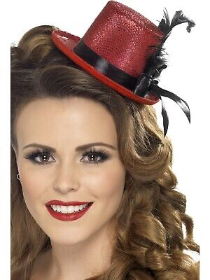 Mini Tophat Red with Black Ribbon Feather Fancy Dress Costume Accessory