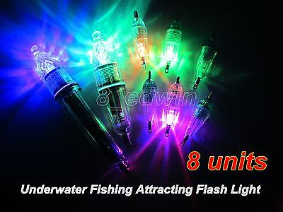 8 Pcs Underwater LED lights Fishing Attracting Light Deep Drop Lure Flashlight