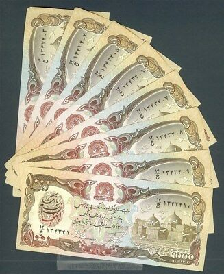 AFGHANISTAN 1000 AFGHANIS NOTE CHOICE UNCIRCULATED CONSECUTIVE #'S LOT OF 16pcs.
