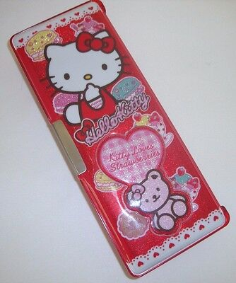 Sanrio Hello Kitty Loves Strawberries 2012 Red Magnetic Pencil Case