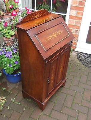 Small Antique Edwardian Walnut Marquetry Inlaid Bureau~Writing Desk