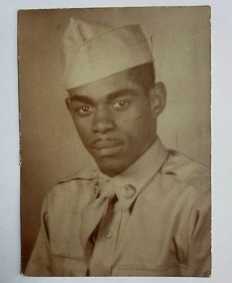 """Photo of Black African American Soldier 5"""" x 3.5"""" Mid-century Vintage image"""