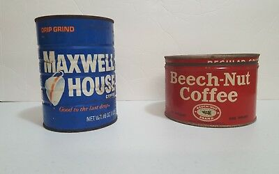 Vintage BEECH-NUT COFFEE Advertising Tin Can! One Pound and Maxwell House Lot