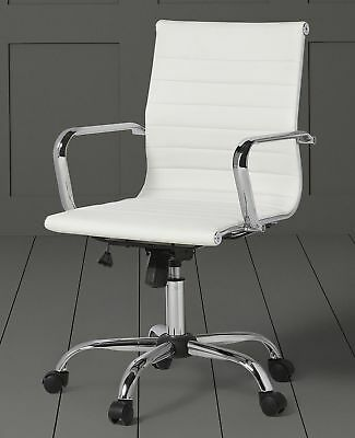 NEW Monroe Leather Effect Chrome Plated Frame Office Chair - Ivory