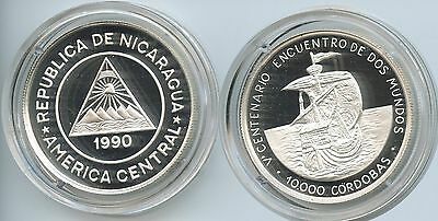 GS628 - Nicaragua 10.000 Cordobas 1990 KM#67 Silber Discovery of America PROOF