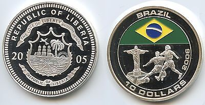 G2098 - Liberia 10 Dollars 2005 Fussball WM 2006 Brasilien Multicolor Color