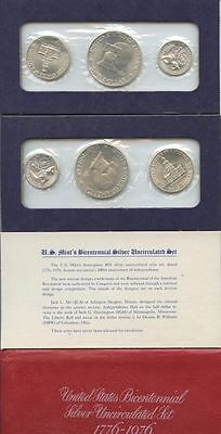 GN055 - USA Mints Bicentennial Silver Proof Set 1976 S - ¼ + ½ + 1 $ 1976 Silber