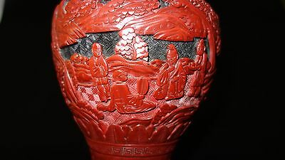 Antique Chinese Carved Red & Black Lacquer Cinnabar Vase China