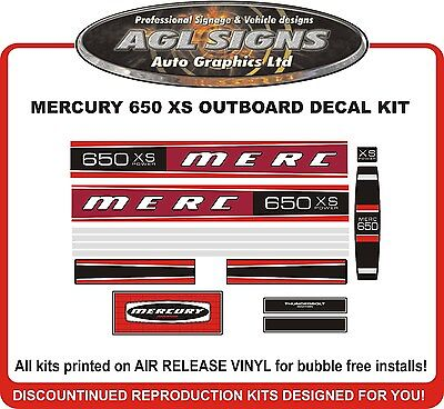 MERCURY  650 XS Outboard Decal Kit   reproductions  Mid 70's