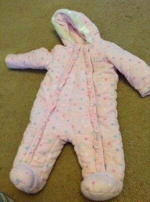 Baby Girls Pink Spotty Snow Winter Suit Age Up To 3 Months By Tu