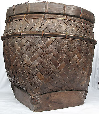 BAMBOO STORAGE  BASKET LOMBOK ISLAND SASAK PEOPLE CULTURAL ARTIFACT mid 20th C