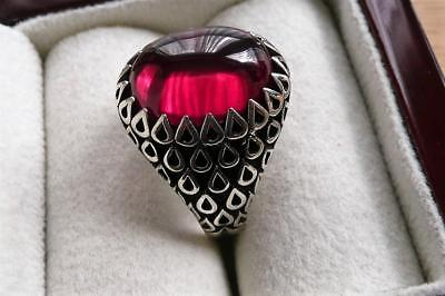 925 Sterling Silver Oval Cabochon Lab Red Ruby Mens Signet Ring Sz V Us 11