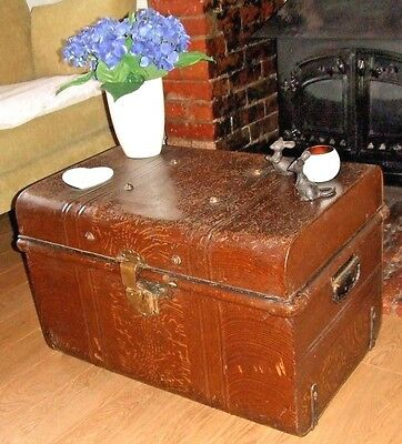 ANTIQUE STEEL TRUNK Old Metal Chest VINTAGE CHEST Table Storage