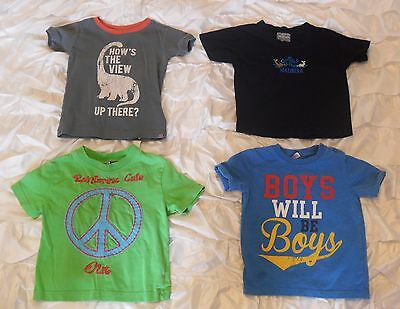 Bundle of 4 x boys age 2 years short sleeved t-shirts tops Baby Gap F&F blue
