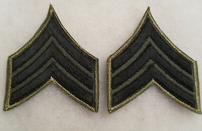 Early Nam Era Match Pair Army Sgt Chevs Variant Emb On Twill W/ Brownish Like Ce