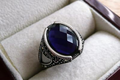 925 Sterling Silver Oval Lab Blue Sapphire & Marcasite Mens Signet Ring Sz R 9