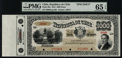 TT PK 28s 1912 CHILE 1000 PESOS REPUBLICA DE CHILE SPECIMEN PMG 65 EPQ ONE FINER
