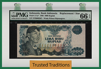 TT PK 111a* 1968 INDONESIA 5000 RUPIAH STAR NOTE PMG 66 EPQ GEM ONLY ONE FINER