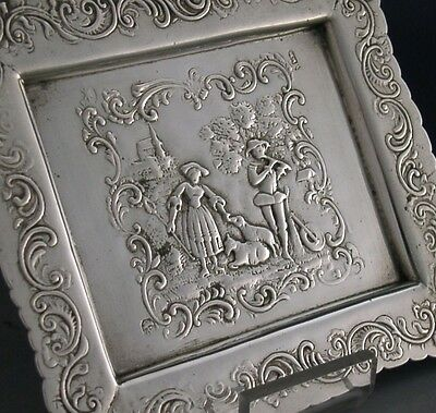 VERY PRETTY SOLID SILVER SHEPHERDESS SCENE TRAY / DISH c1900 ANTIQUE