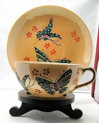 Old Japanese Green Butterfly Cup & Saucer And On A Wood Stand