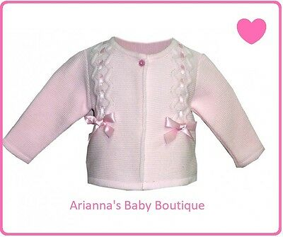 New Girls Bow Cardigan Alber Spanish Style Slotted Ribbon Bows Ages 3 M To 24 M