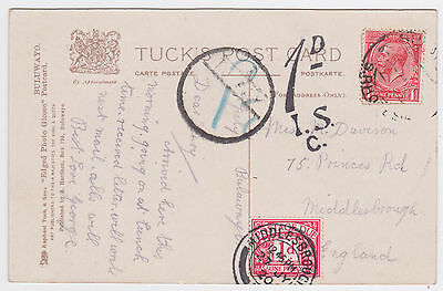 1920 SOUTHERN RHODESIA KGV 1d BULAWAYO REAL PHOTO PC->GB+1d POSTAGE DUE