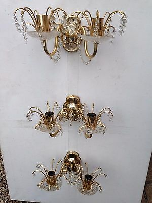Stunning Three Wall Fixed Cut Glass Crystal Chandelier Light Fittings