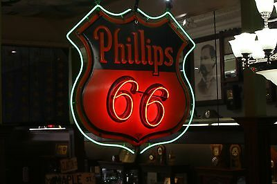Vintage Phillips 66 Porcelain and Metal Neon Sign Number One Measures 4ft by 4ft