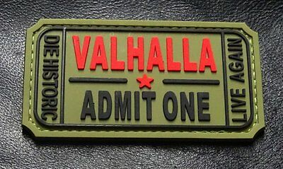 Ticket to Valhalla Admit One Vikings Mad Max PVC Rubber Morale Hook Patch (MTU2)