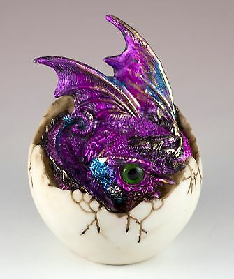 "Purple Baby Dragon Hatching From Egg Figurine Hatchling 4"" Detailed Resin New!"
