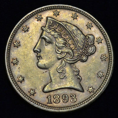 1893 Liberty Head $5 Gold Half Eagle, About Uncirculated