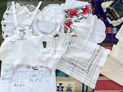 Vintage Textile LOT Rugs Embroidered Doilies Battenberg? Lace & Embroidery Latin