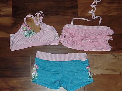 3 Pcs. Girls CALIFORNIA KISSES Dancewear Dance Top Shorts Outfit Set XL 12